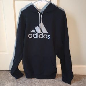 Adidas hooded sweatshirt navy blue and silver XXL